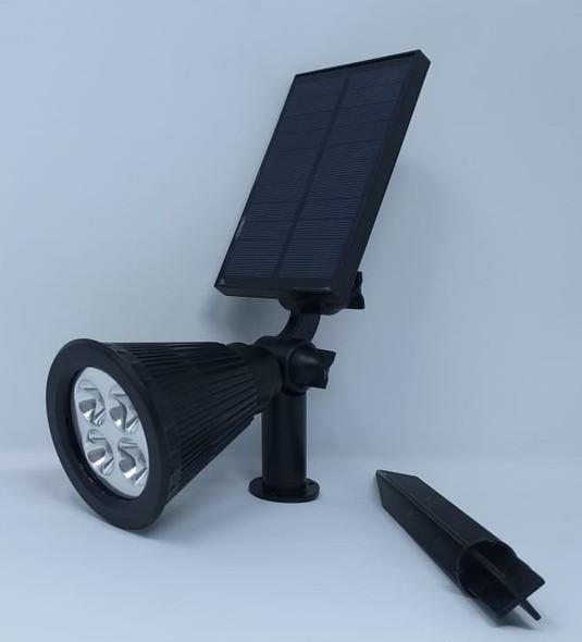 SOLAR LAMP LAWN LED TORCH SPOT 4 BULB BROWN BOX