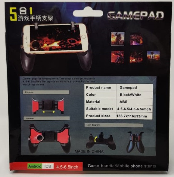 "GAME CONTROLLER WIRELESS 5 IN 1 GAMEPAD 4.5-6.5"" ANDROID & IOS"
