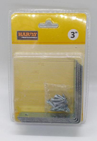 """ANGLE CORNER BRACKET 3"""" HARDY 4PCS PK W/SCREW"""