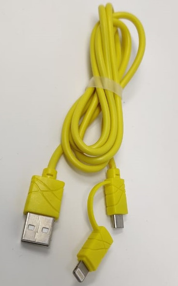 USB CABLE MICRO + LIGHTING IPHONE DATA QUICK CHARGE FAST 2IN1