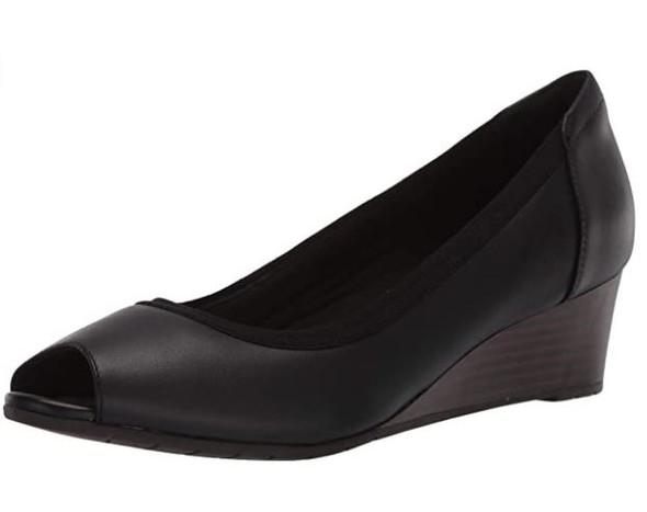 Footwear Clarks Women's Mallory Charm Wedge Black Leather