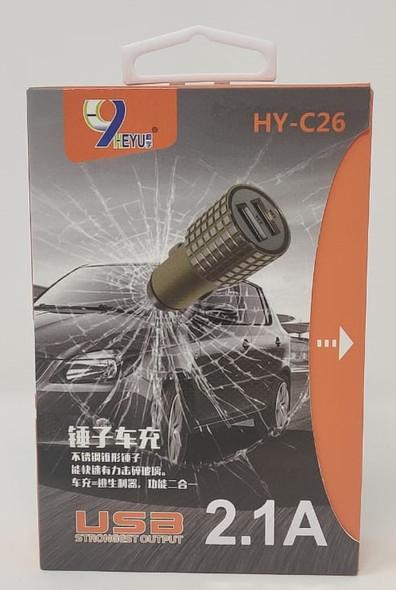 USB CAR ADAPTOR HEYU HY-C26 2.1A STRONGEST OUTPUT