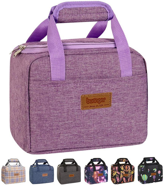 Bag Insulated Lunch Cooler Buringer Cute Box Tote Bento Container with Front Pocket for Women Purple
