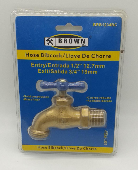 "BIB CORK 1/2"" BRASS BROWN USA #BRB1234BC W/TH"