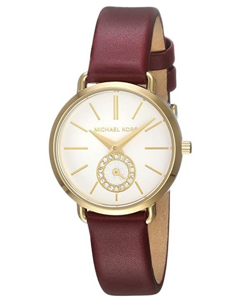 Watch Michael Kors Women's Portia MK2751 Ladies Quartz Watch Stainless Steel Leather Strap Red