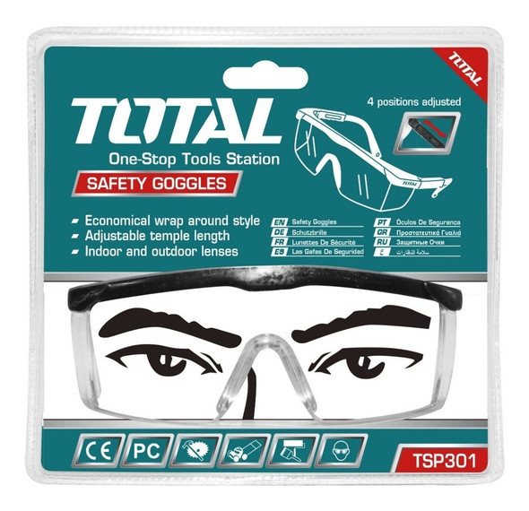 SAFETY GOGGLES CLEAR GLASS TOTAL TSP301