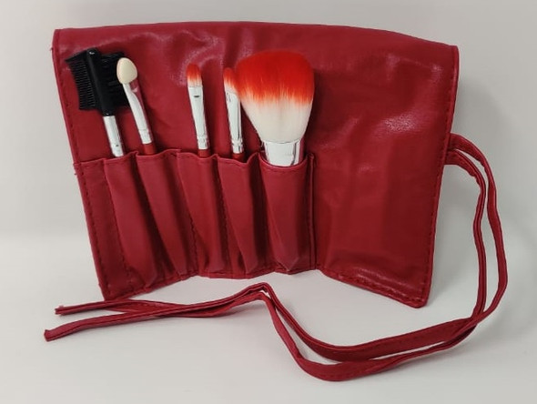 Makeup Brush Set SM91 In Leather Case 5pcs