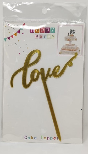 PARTY CAKE TOPPER LOVE GOLD DX002
