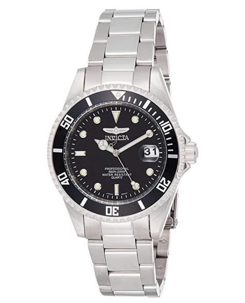 Watch Men Invicta 8932OB Pro Diver Analog Quartz Silver Dial color Black Stainless Steel