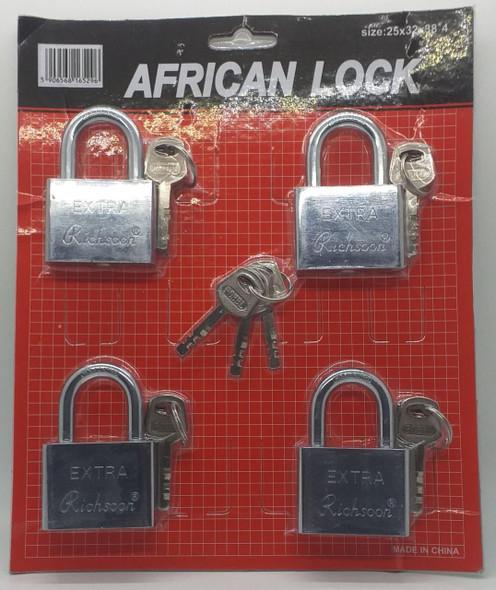 PADLOCK 4PCS SET 50MM RICHSOON AFRICAN LOCK KEY ALIKE