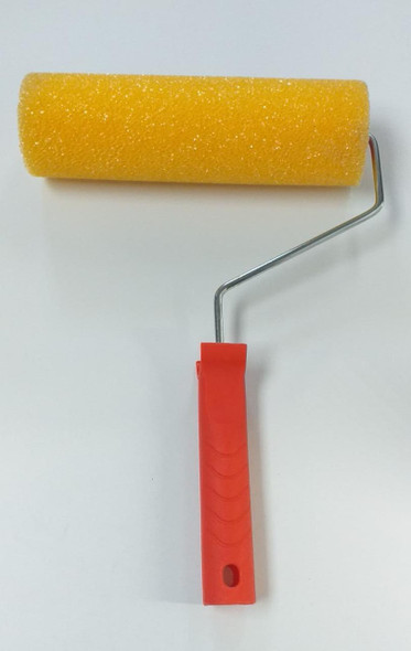 """ROLLER BRUSH 9"""" YELLOW SPONGE PAD WITH RED HANDLE"""