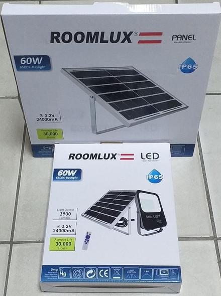 LAMP LED SOLAR FLOOD 60W ROOMLUX B43748 BLACK 6500K