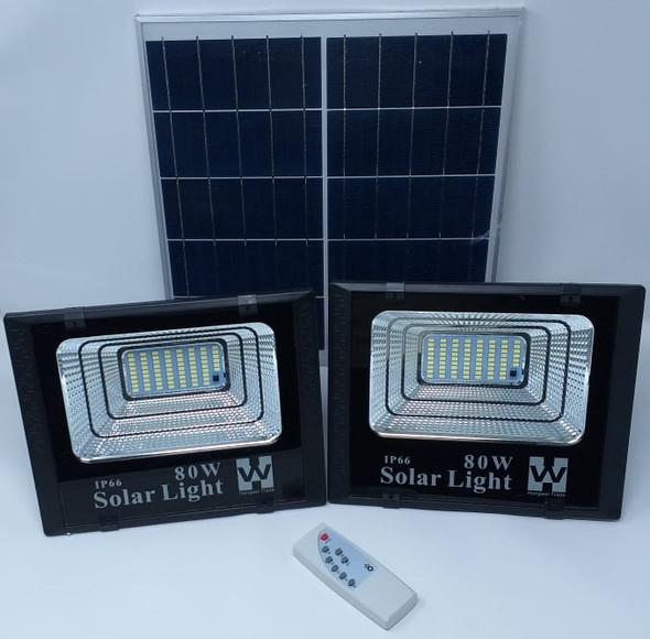 LAMP LED SOLAR FLOOD 2PCS 80W LAMP + 1 SOLAR PANEL IP66 W