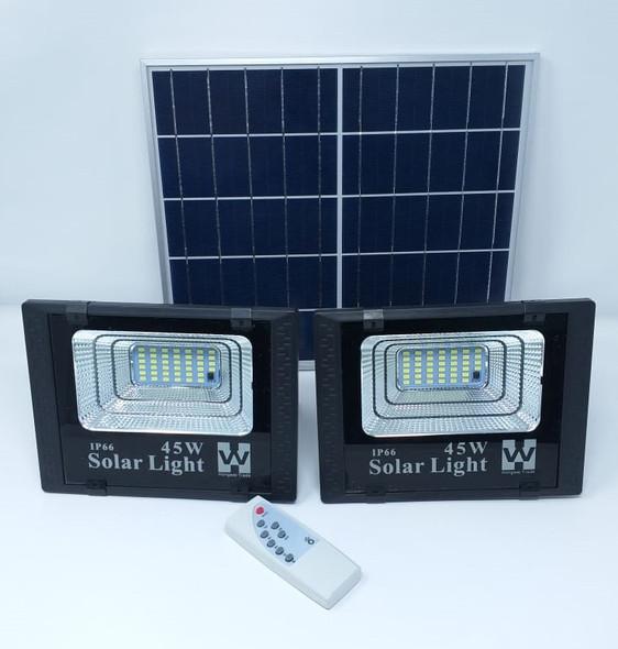 LAMP LED SOLAR FLOOD 2PCS 45W LAMP + 1 SOLAR PANEL IP66 W