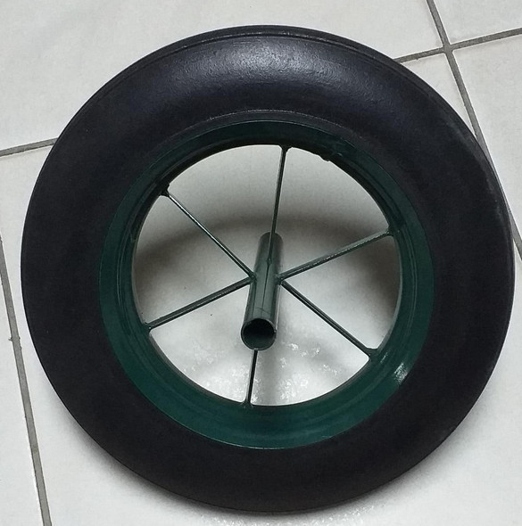 "WHEEL BARROW WHEEL 14"" SOLID WITH SPINDLE"