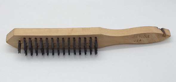 WIRE BRUSH 4 ROW BOXER TOOLS USA WOOD HANDLE