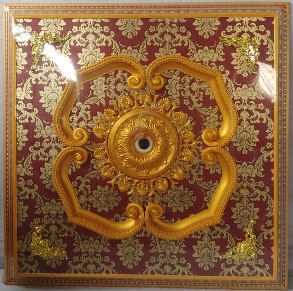 CEILING MOULDING SQUARE 3' X 2' RED & GOLD