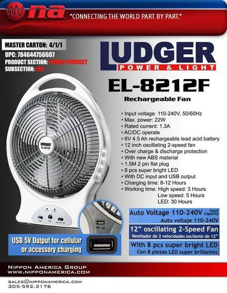 "FAN 12"" LUDGER RECHARGEABLE EL-8212F"
