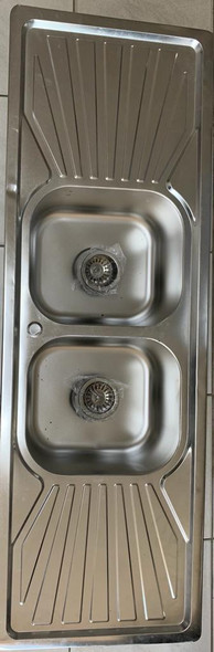 """SINK D/BOWL D/DRAIN 59"""" X 20"""" W/WASTE FLAT EDGE FITS IN COUNTER TOP"""