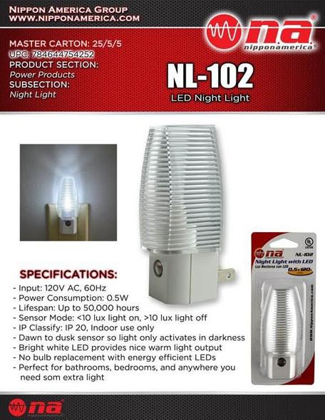 NIGHT LIGHT LED NIPPON AMERICA NL-102 120V AUTOMATIC