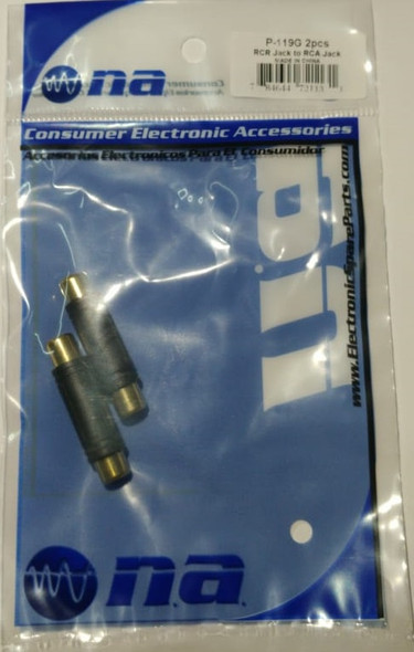 PLUG 1 RCA FEMALE TO 1 RCA FEMALE P-119G 2PCS PACK JOINER GOLD NIPPON AMERICA