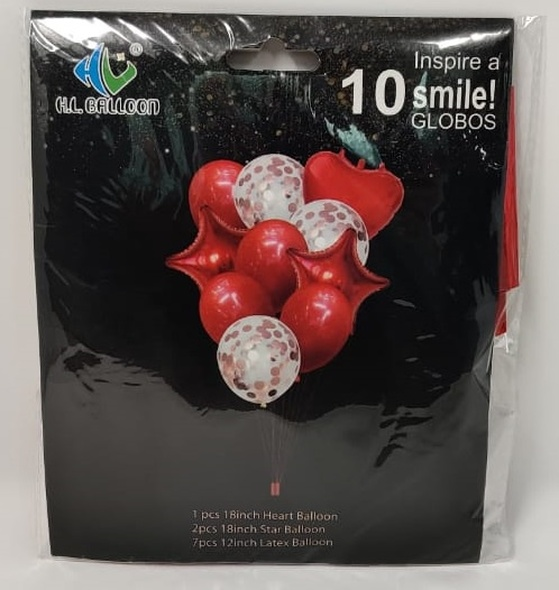 PARTY BALLOONS WITH CONFETTI COLORED AND CLEAR KIT 10PCS PACK HL149 H.L