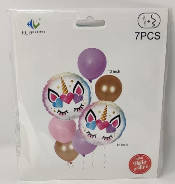 """PARTY BALLOONS 7pcs 12"""" & 18"""" Pack Inflar Helio O Aire HL-154 H.L."""