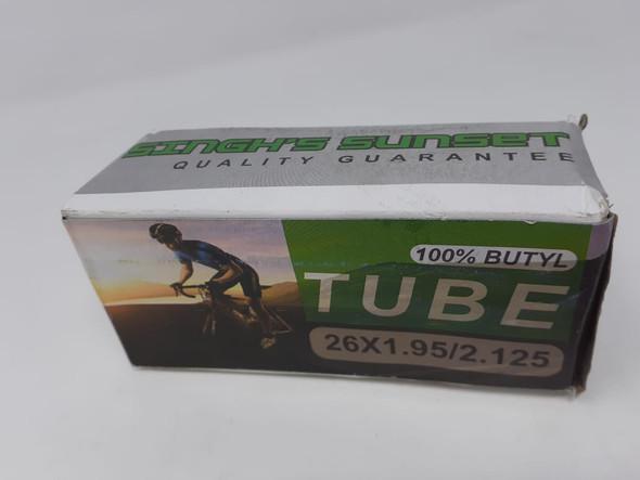 "BICYCLE TUBE 26"" 26x1.95/2.125 48MM A/V 100% BUTYL SINGH SUNSET"