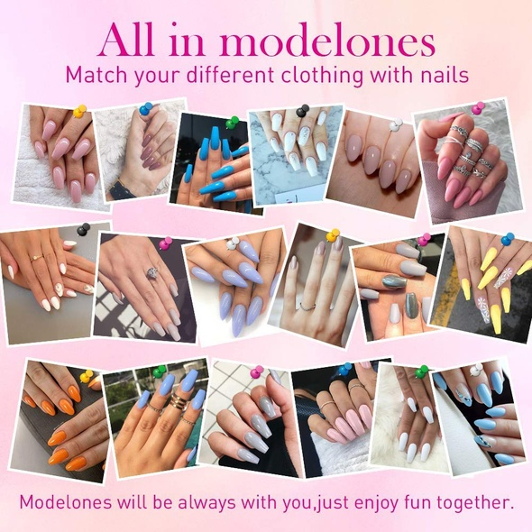 Nails Modelones Gel Enamel Set MZ-0144C Pink and white glitter.
