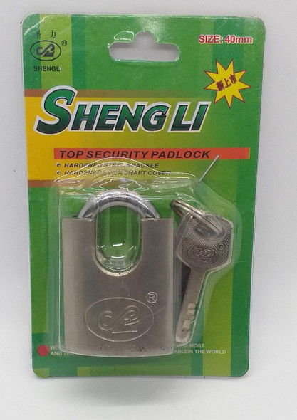 PADLOCK 40MM SHENGLI S/STEEL CLOSED SHACKLED