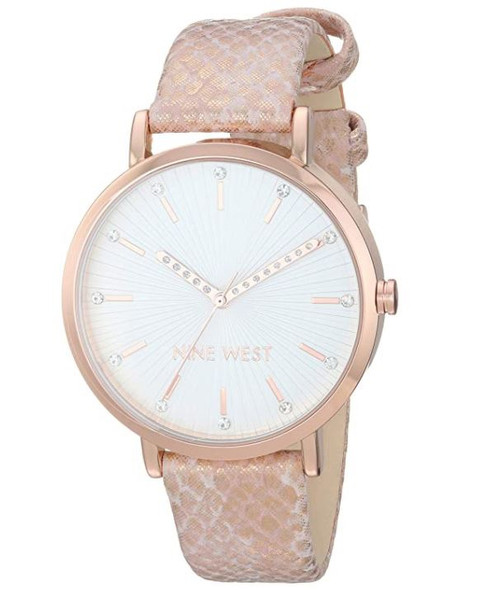 WATCH Nine West Women's Crystal Accented Rose Gold-Tone and Pink Snake Patterned Strap NW/2382RGPK