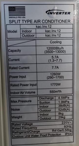 AIR CONDITIONER EMERALD 12000BTU INVERTER 220V SPLIT KAC-INV-12