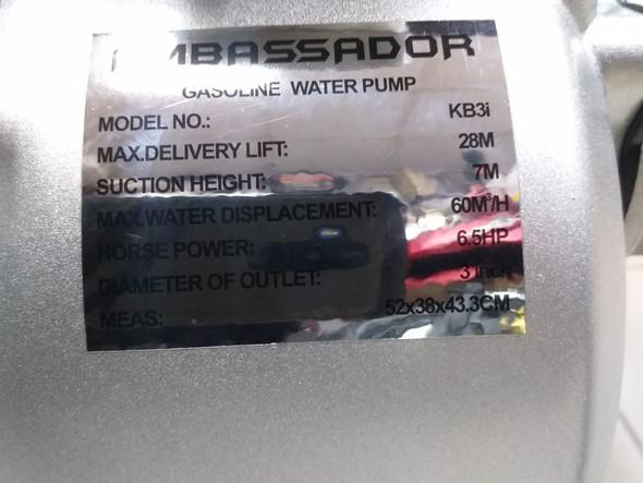 """WATER PUMP 3"""" AMBASSADOR KB3I"""
