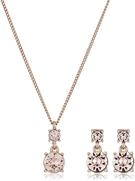 Jewelry Fashion NINE WEST Women's Box Rose Gold Tone Silk Necklace Ear Set, One Size