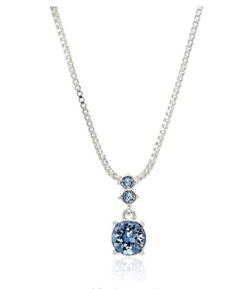 Jewelry Fashion NINE WEST Women's Boxed Necklace/Pierced Earrings Set, Silver/Blue, One Size