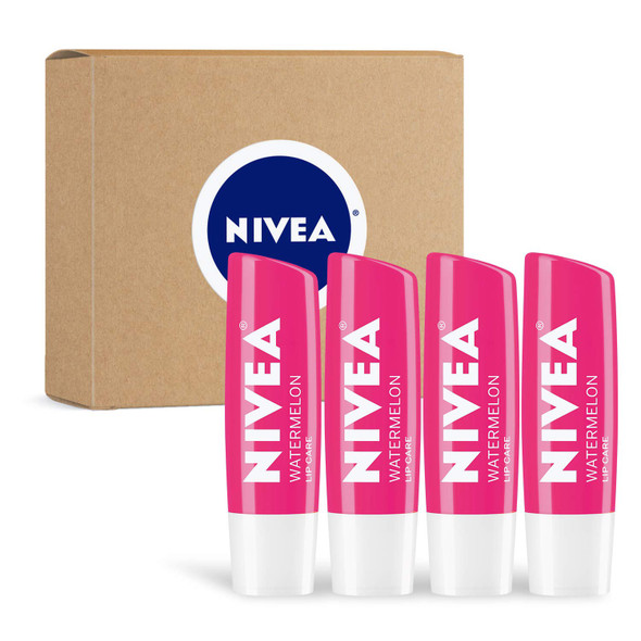 Makeup Lip Balm NIVEA Watermelon Lip Care Tinted Lip Balm for Beautiful, Soft Lips, 4 Count