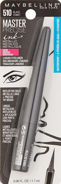 Makeup Eyeliner Maybelline New York Master Precise Ink Metallic Liquid Liner, Black Comet, 0.06 Fluid Ounce