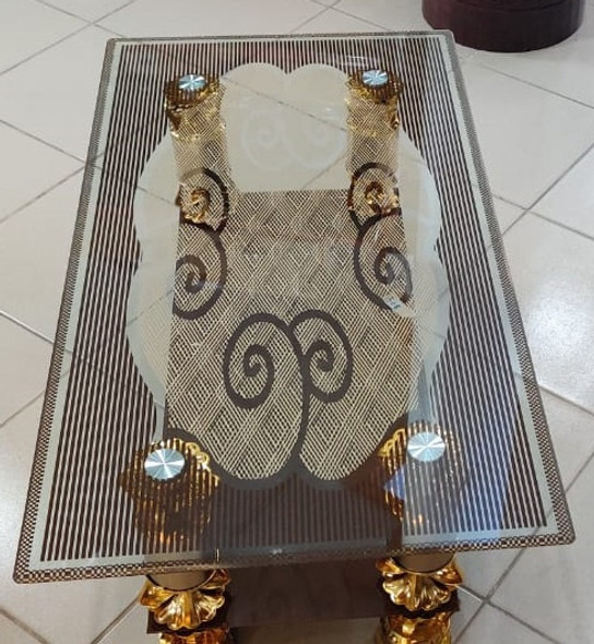 GLASS TABLE BROWN & GOLD  908