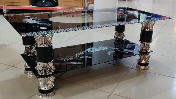 GLASS TABLE BLACK, WHITE & SILVER CJ123