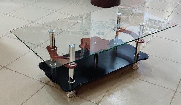 GLASS TABLE WOOD & GLASS DESIGN BROWN & BLACK AB207