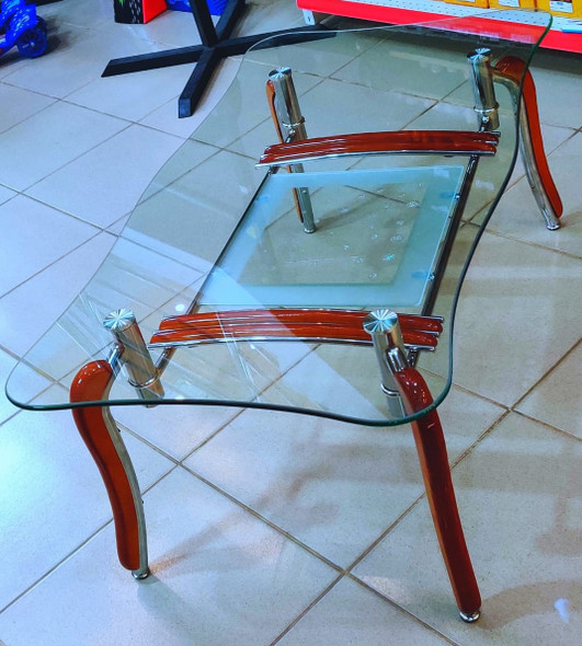 GLASS TABLE WOOD BROWN & GLASS A1019