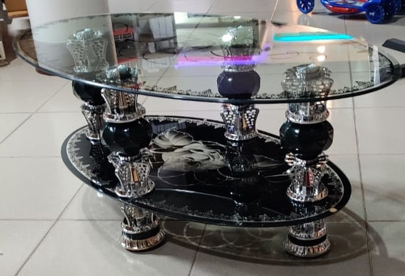 GLASS TABLE OVAL BLACK & WHITE GLASS 869