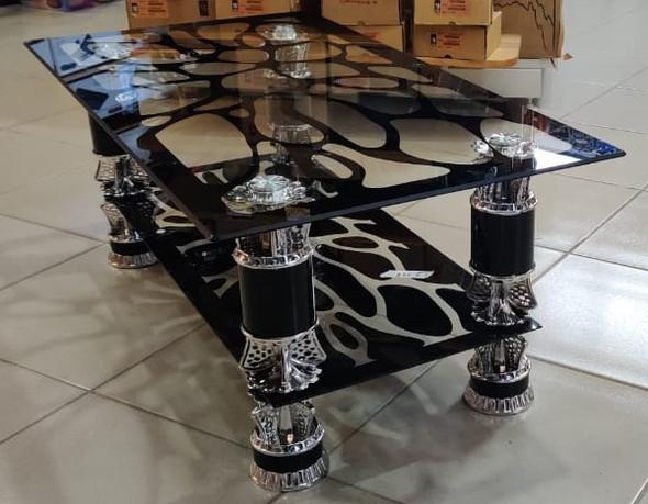 GLASS TABLE BLACK & SILVER CJ198