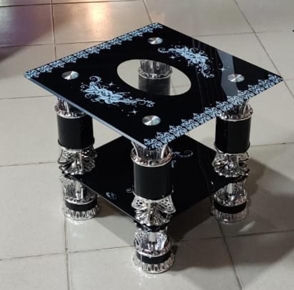 GLASS TABLE SQUARE BLACK, WHITE & SILVER CJ123-2