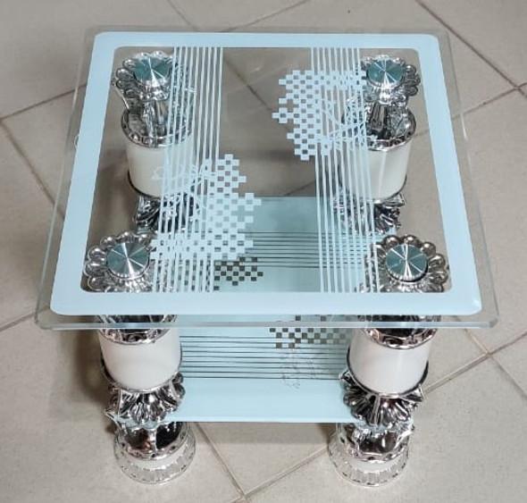 GLASS TABLE SQUARE WHITE & SILVER CJ331