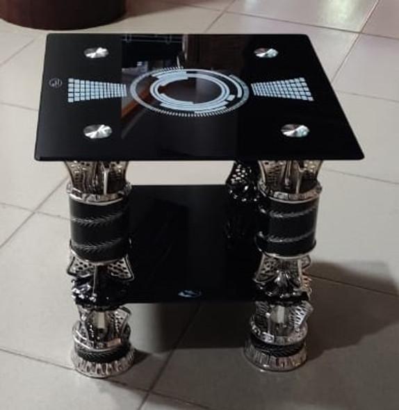 GLASS TABLE SQUARE BLACK & SILVER CJ332