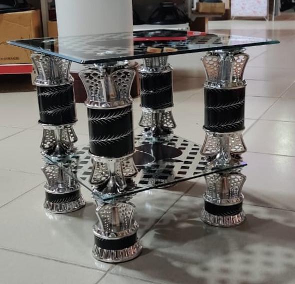 GLASS TABLE SQUARE BLACK & SILVER APPLE CJ230
