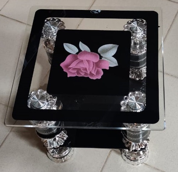 GLASS TABLE SQUARE BLACK & SILVER PINK FLOWER CJ206