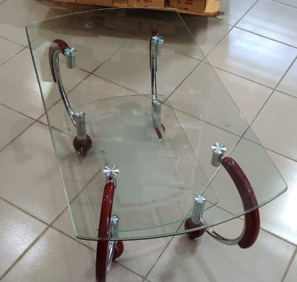GLASS TABLE WOOD BROWN & GLASS A1042
