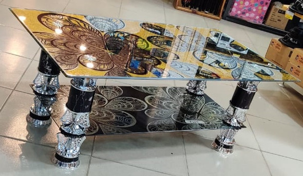 GLASS TABLE BLACK, GOLD & SILVER DESIGN GLASS 820A